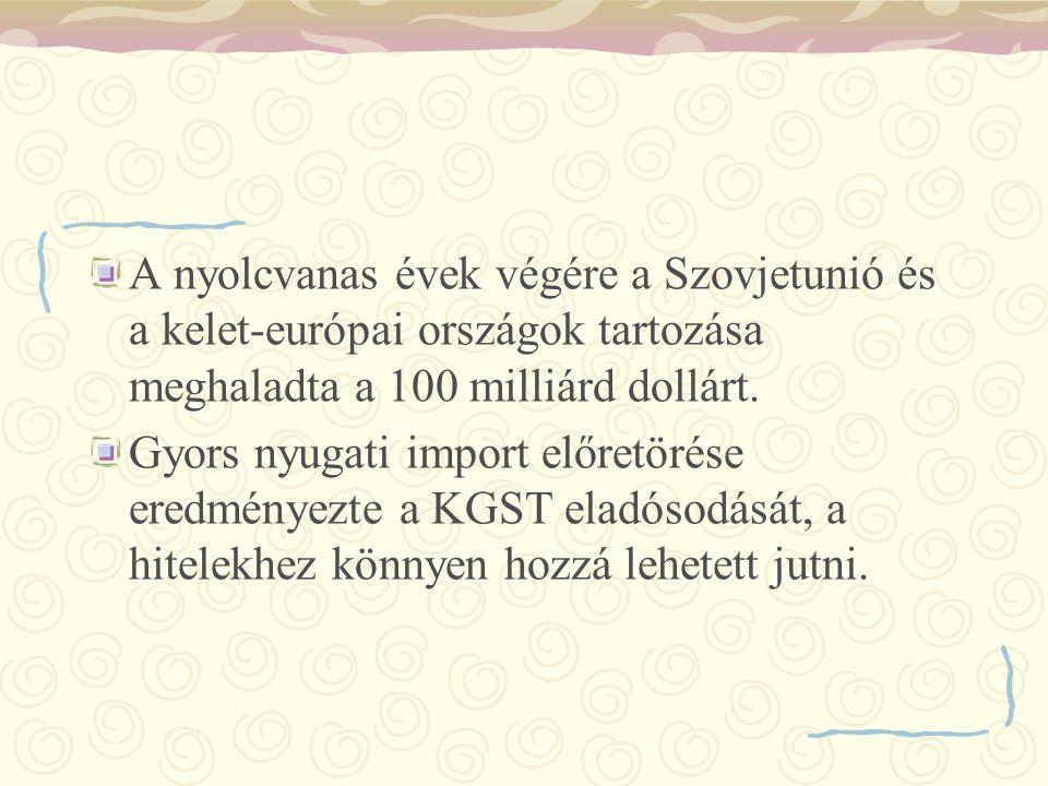 A nyolcvanas évek végére a Szovjetunió és a kelet-európai országok tartozása meghaladta a 100 milliárd dollárt.