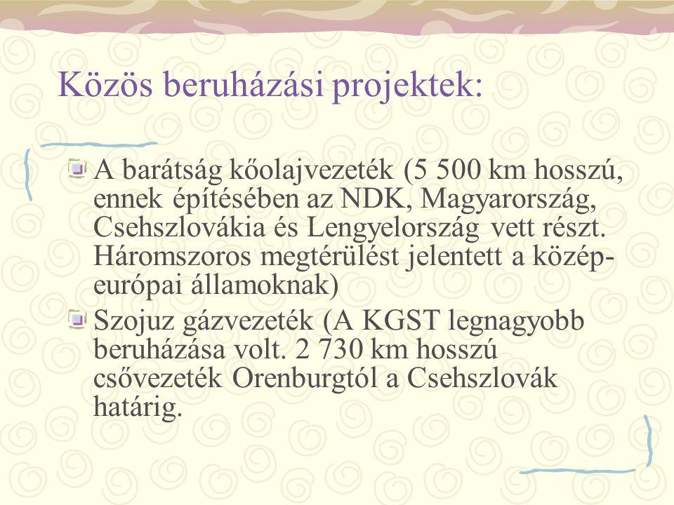 Közös beruházási projektek:
