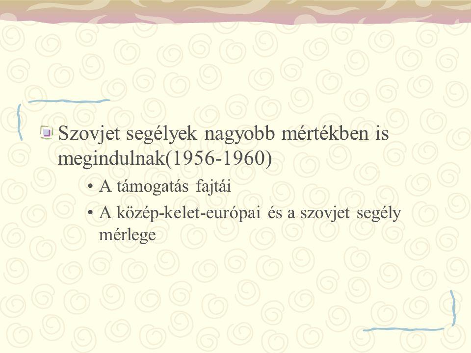Szovjet segélyek nagyobb mértékben is megindulnak(1956-1960)