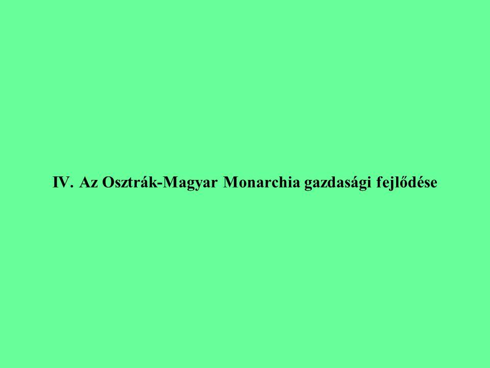 IV. Az Osztrák-Magyar Monarchia gazdasági fejlődése