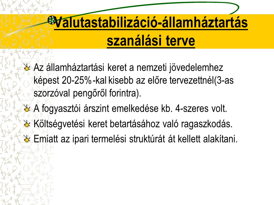 Valutastabilizáció-államháztartás szanálási terve