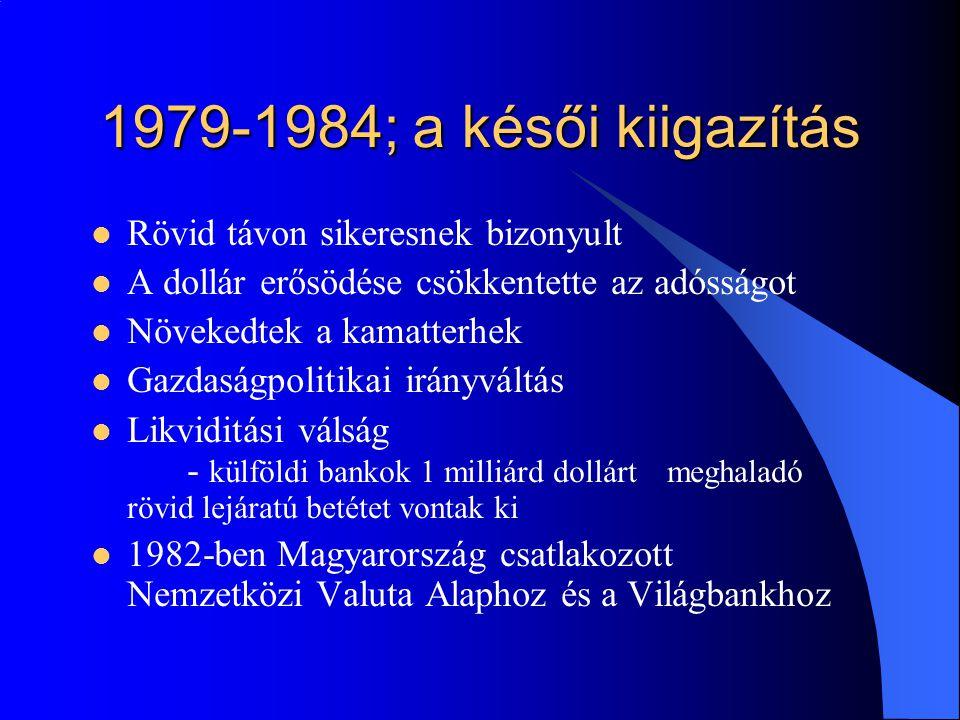 1979-1984; a késői kiigazítás Rövid távon sikeresnek bizonyult
