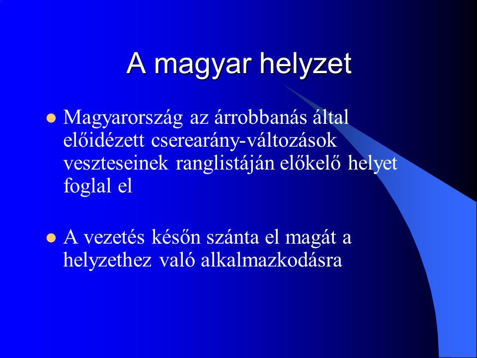 A magyar helyzet Magyarország az árrobbanás által előidézett cserearány-változások veszteseinek ranglistáján előkelő helyet foglal el.