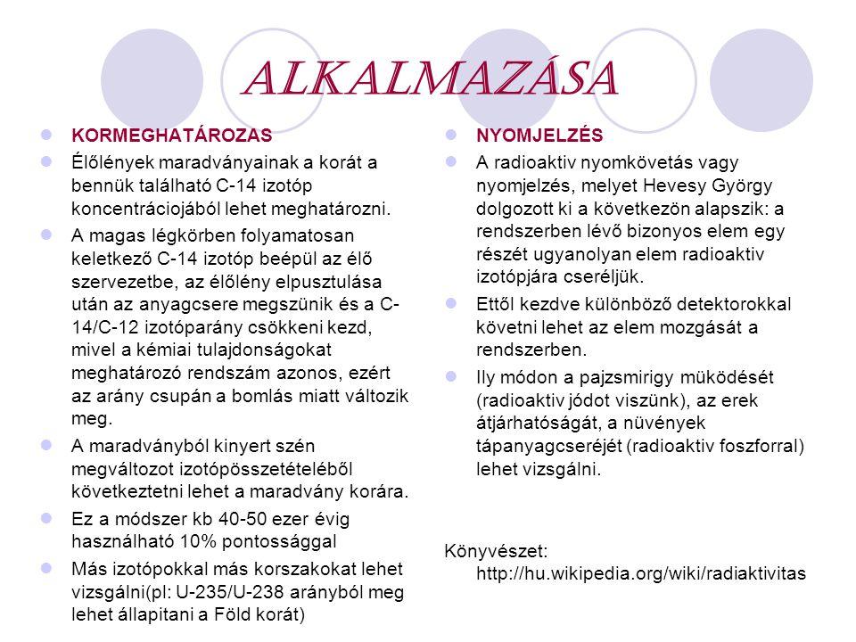 ALKALMAZÁSA KORMEGHATÁROZAS