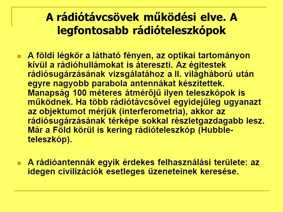 A rádiótávcsövek működési elve. A legfontosabb rádióteleszkópok