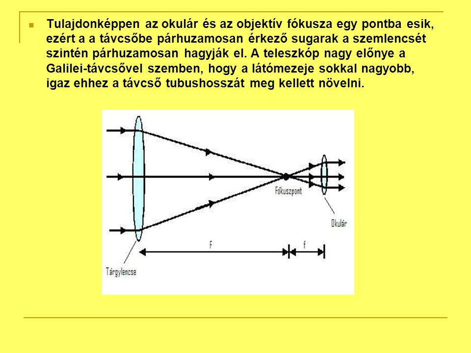 Tulajdonképpen az okulár és az objektív fókusza egy pontba esik, ezért a a távcsőbe párhuzamosan érkező sugarak a szemlencsét szintén párhuzamosan hagyják el.