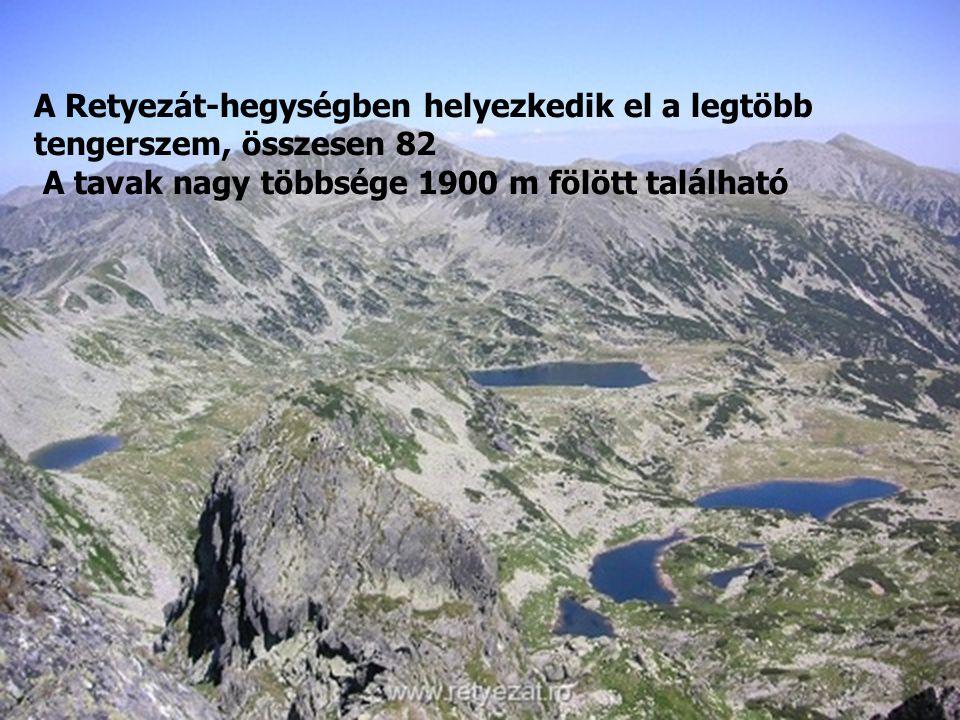 A Retyezát-hegységben helyezkedik el a legtöbb tengerszem, összesen 82