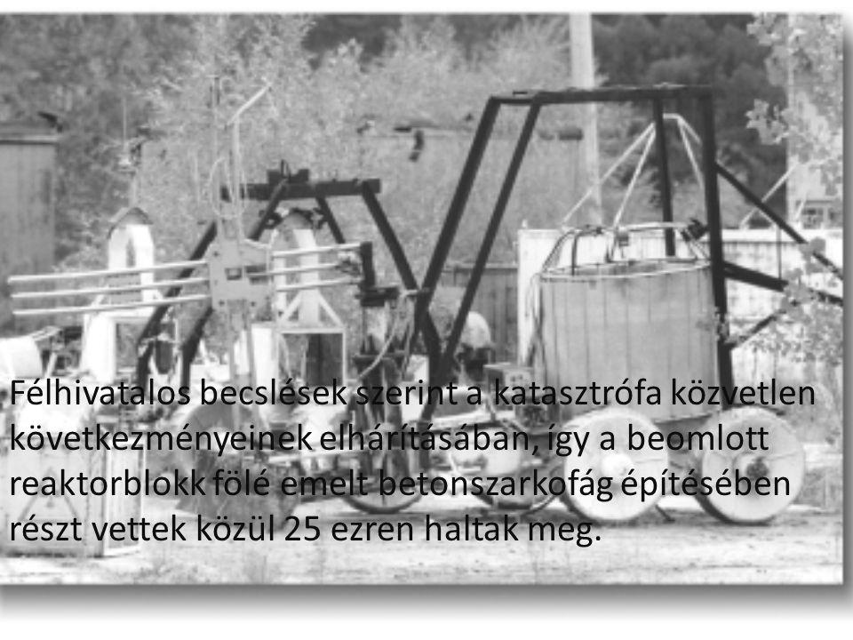 Félhivatalos becslések szerint a katasztrófa közvetlen következményeinek elhárításában, így a beomlott reaktorblokk fölé emelt betonszarkofág építésében részt vettek közül 25 ezren haltak meg.