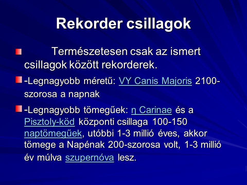Rekorder csillagok Természetesen csak az ismert csillagok között rekorderek. -Legnagyobb méretű: VY Canis Majoris 2100-szorosa a napnak.
