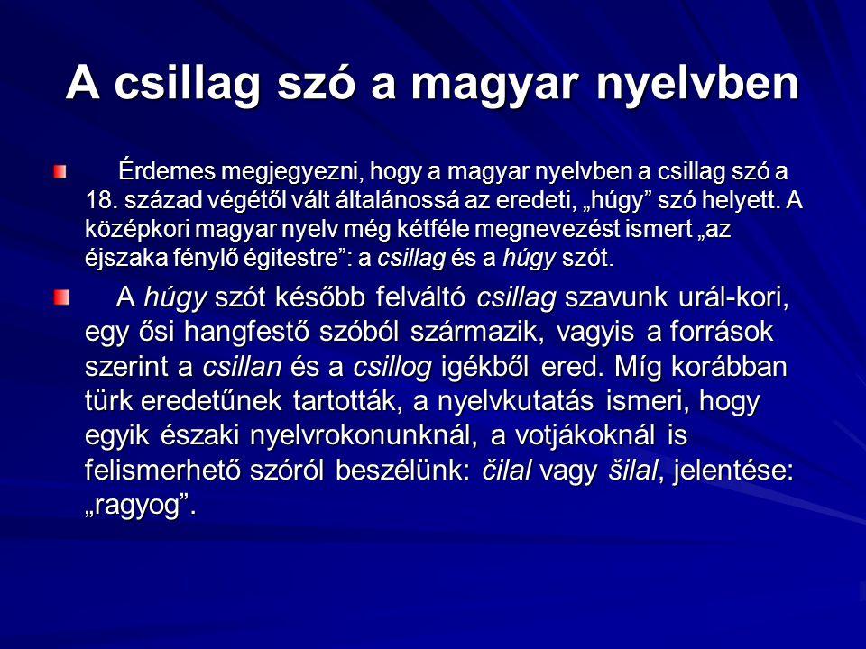 A csillag szó a magyar nyelvben