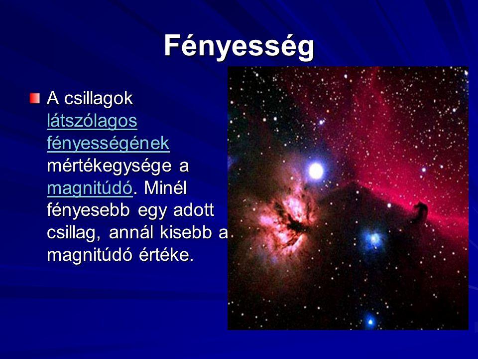 Fényesség A csillagok látszólagos fényességének mértékegysége a magnitúdó.