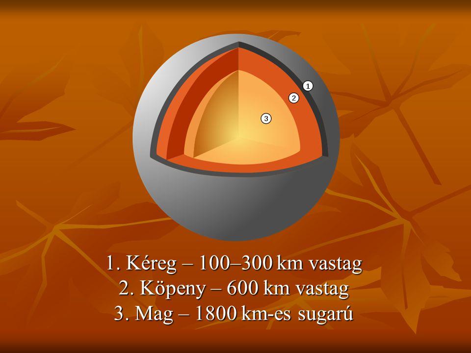 1. Kéreg – 100–300 km vastag 2. Köpeny – 600 km vastag 3