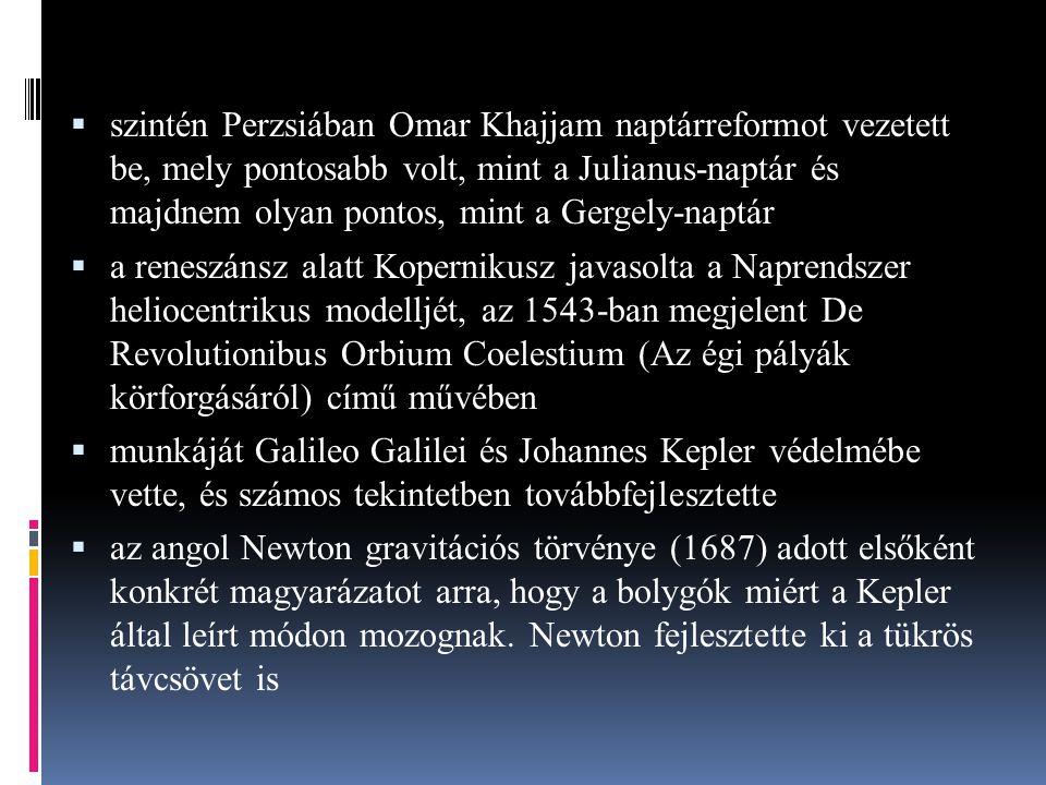 szintén Perzsiában Omar Khajjam naptárreformot vezetett be, mely pontosabb volt, mint a Julianus-naptár és majdnem olyan pontos, mint a Gergely-naptár