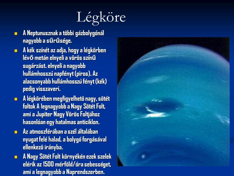 Légköre A Neptunusznak a többi gázbolygónál nagyobb a sűrűsége.