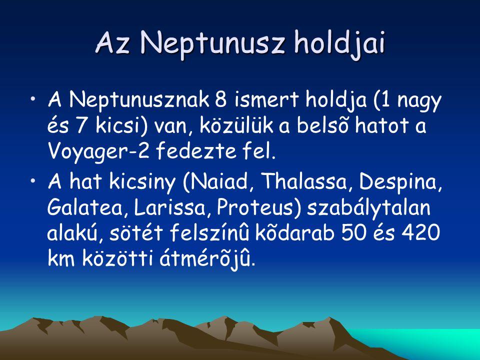 Az Neptunusz holdjai A Neptunusznak 8 ismert holdja (1 nagy és 7 kicsi) van, közülük a belsõ hatot a Voyager-2 fedezte fel.