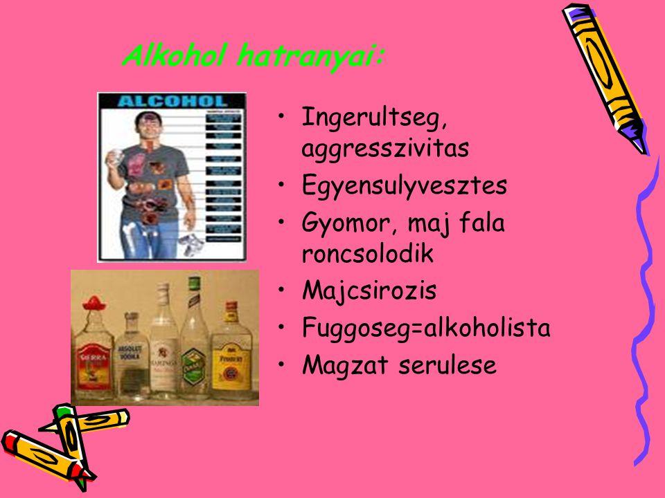 Alkohol hatranyai: Ingerultseg, aggresszivitas Egyensulyvesztes