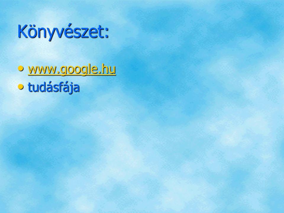 Könyvészet: www.google.hu tudásfája