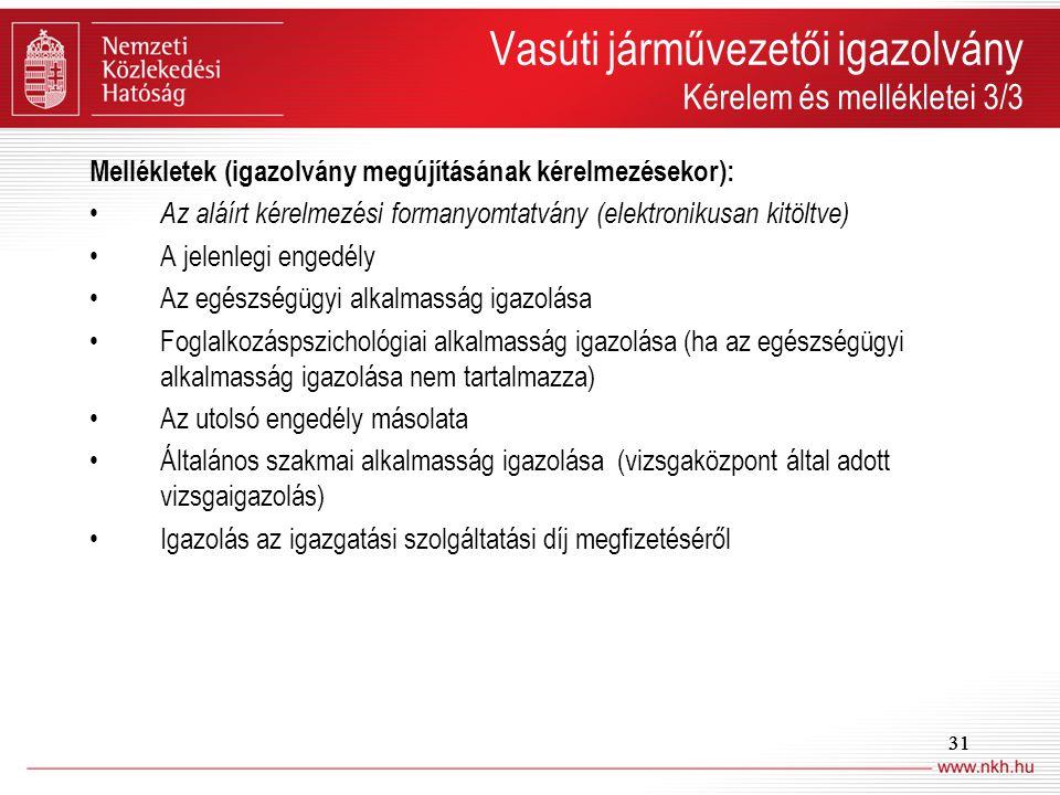 Vasúti járművezetői igazolvány Kérelem és mellékletei 3/3