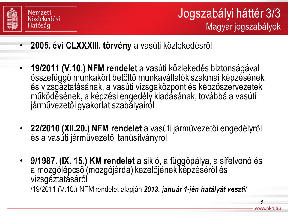 Jogszabályi háttér 3/3 Magyar jogszabályok