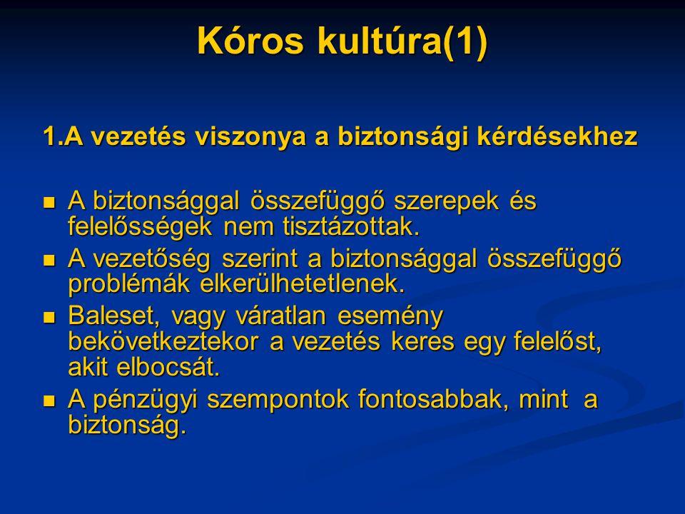 Kóros kultúra(1) 1.A vezetés viszonya a biztonsági kérdésekhez