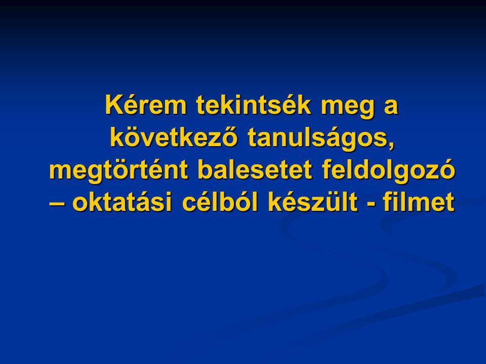 Kérem tekintsék meg a következő tanulságos, megtörtént balesetet feldolgozó – oktatási célból készült - filmet