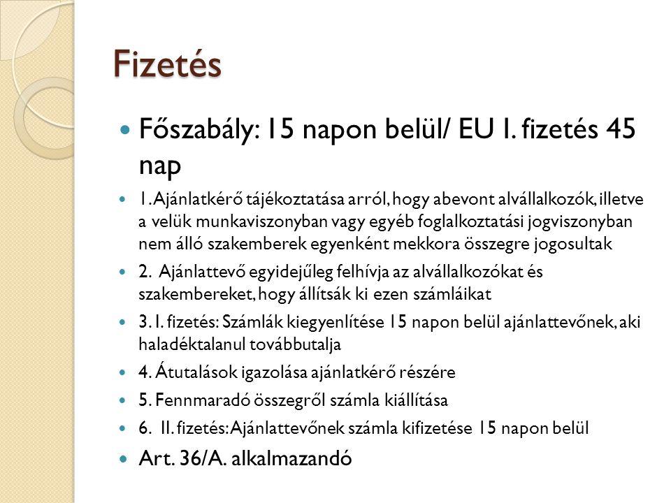 Fizetés Főszabály: 15 napon belül/ EU I. fizetés 45 nap