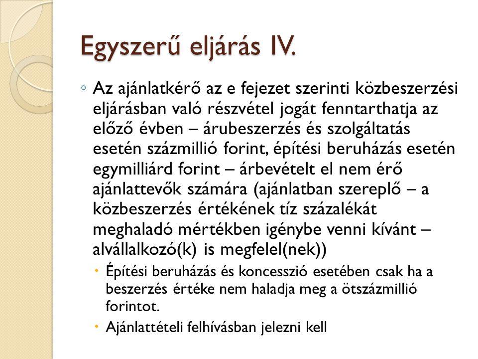 Egyszerű eljárás IV.