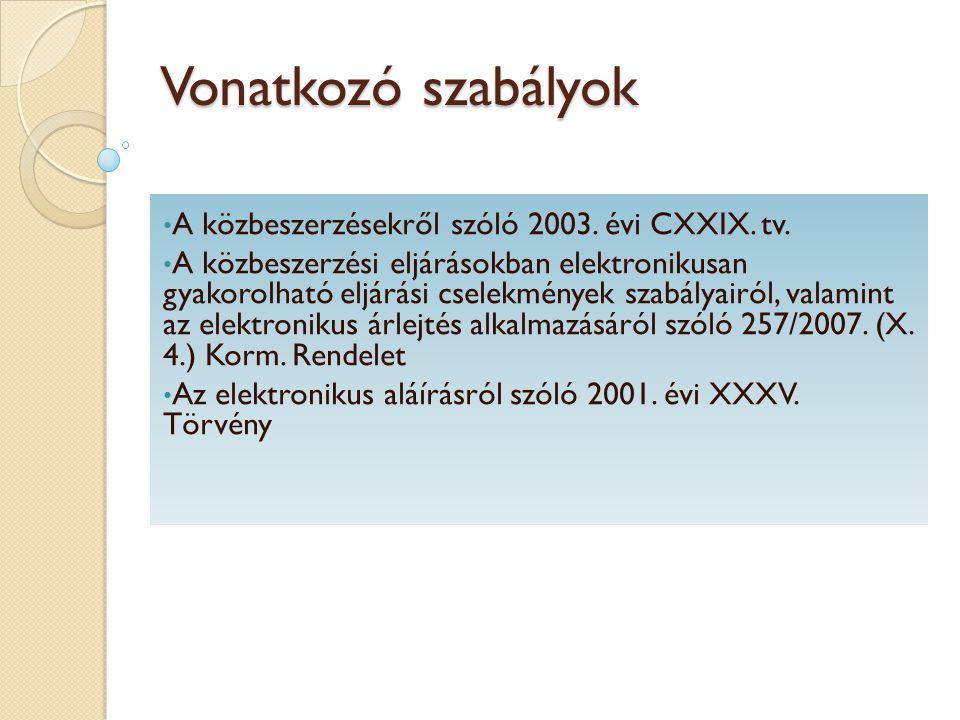Vonatkozó szabályok A közbeszerzésekről szóló 2003. évi CXXIX. tv.