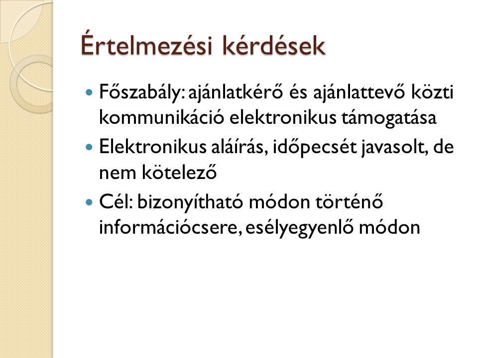 Értelmezési kérdések Főszabály: ajánlatkérő és ajánlattevő közti kommunikáció elektronikus támogatása.