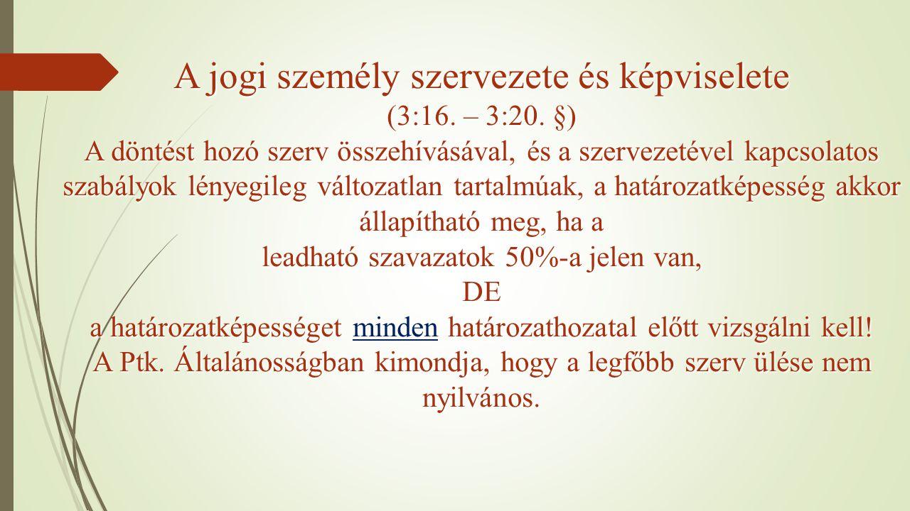 A jogi személy szervezete és képviselete (3:16. – 3:20