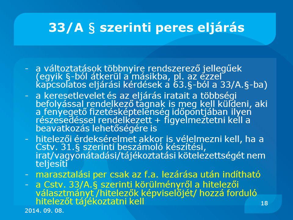 33/A § szerinti peres eljárás