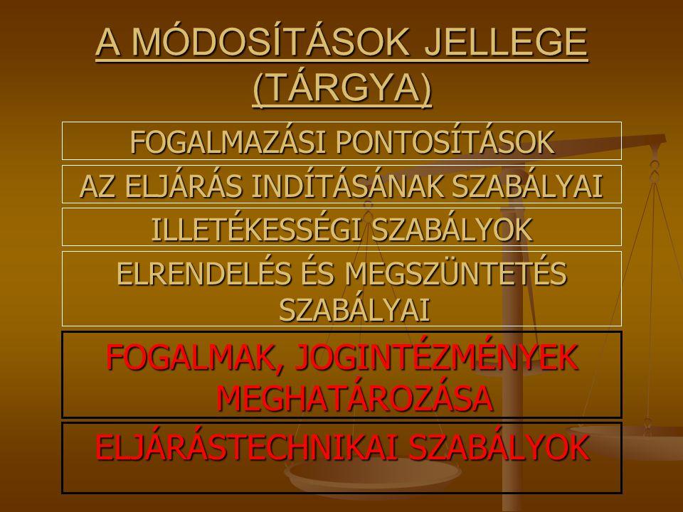 A MÓDOSÍTÁSOK JELLEGE (TÁRGYA)