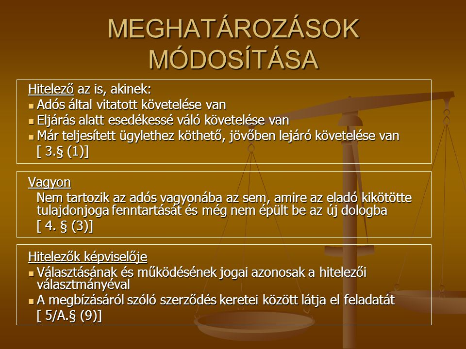 MEGHATÁROZÁSOK MÓDOSÍTÁSA