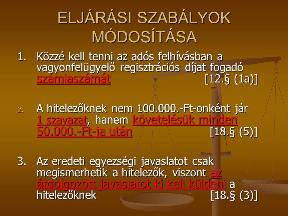 ELJÁRÁSI SZABÁLYOK MÓDOSÍTÁSA