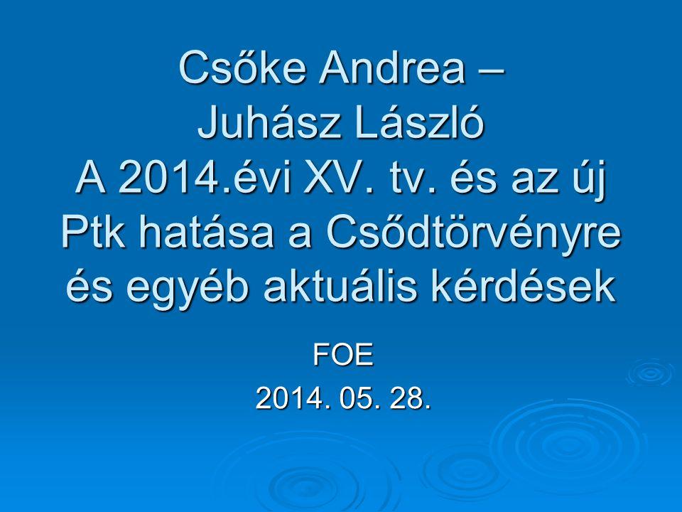 Csőke Andrea – Juhász László A 2014. évi XV. tv