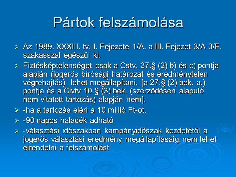 Pártok felszámolása Az 1989. XXXIII. tv. I. Fejezete 1/A, a III. Fejezet 3/A-3/F. szakasszal egészül ki.