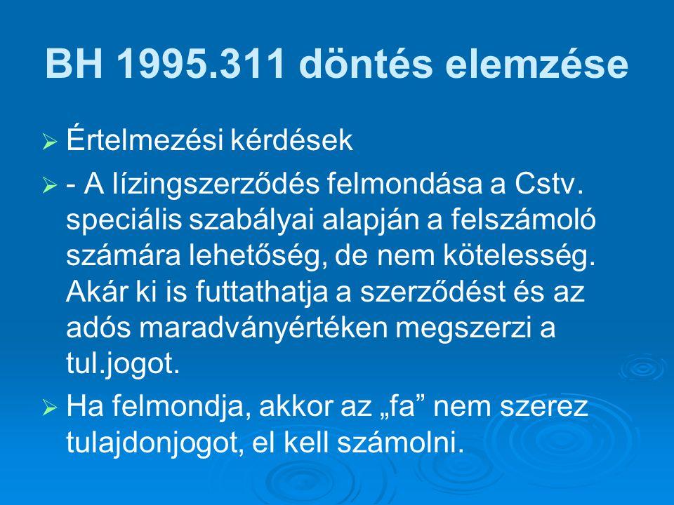 BH 1995.311 döntés elemzése Értelmezési kérdések