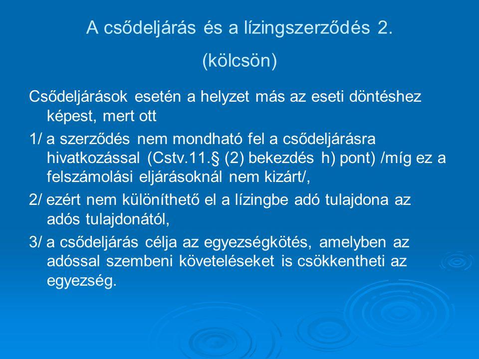 A csődeljárás és a lízingszerződés 2. (kölcsön)