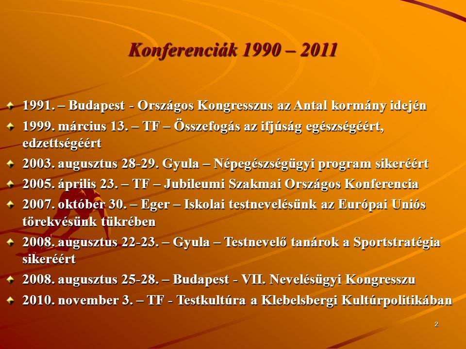 Konferenciák 1990 – 2011 1991. – Budapest - Országos Kongresszus az Antal kormány idején.