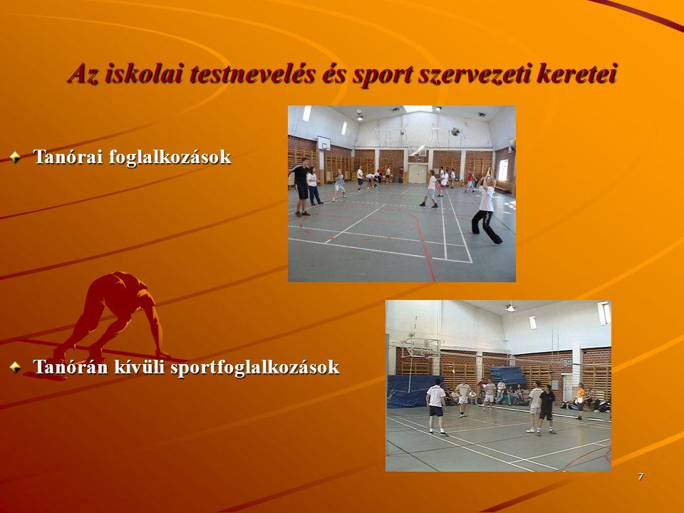 Az iskolai testnevelés és sport szervezeti keretei