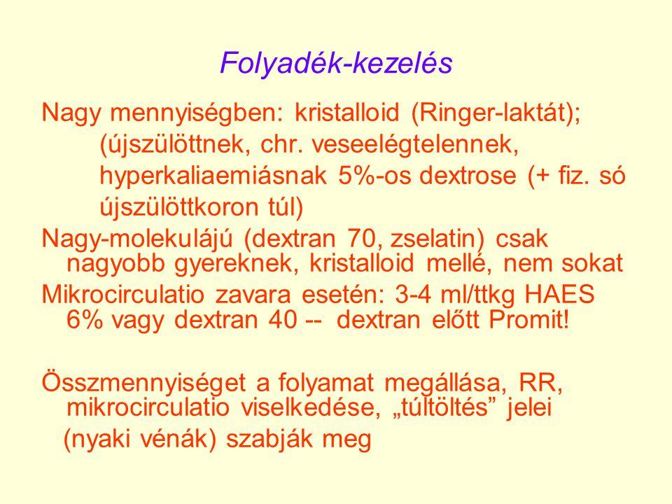 Folyadék-kezelés Nagy mennyiségben: kristalloid (Ringer-laktát);