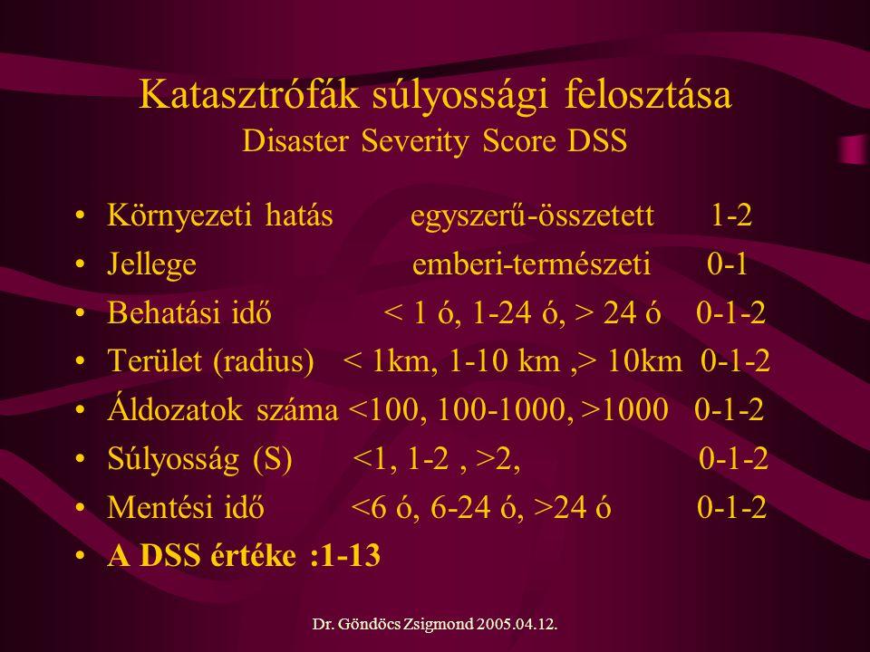 Katasztrófák súlyossági felosztása Disaster Severity Score DSS