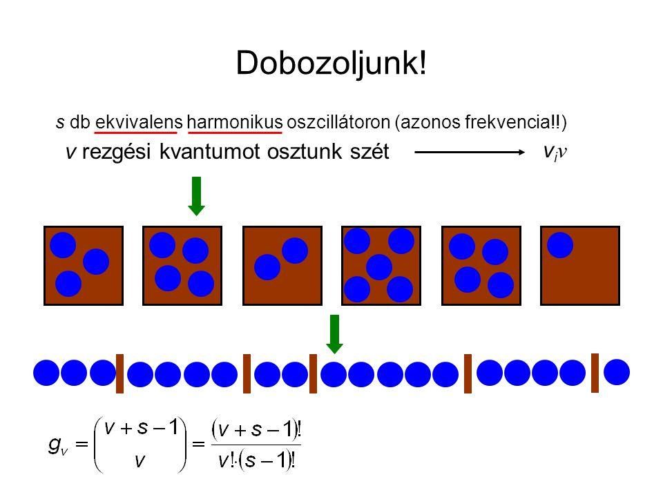 Dobozoljunk! s db ekvivalens harmonikus oszcillátoron (azonos frekvencia!!) v rezgési kvantumot osztunk szét.