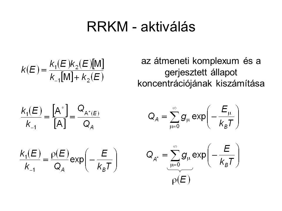 RRKM - aktiválás az átmeneti komplexum és a gerjesztett állapot koncentrációjának kiszámítása
