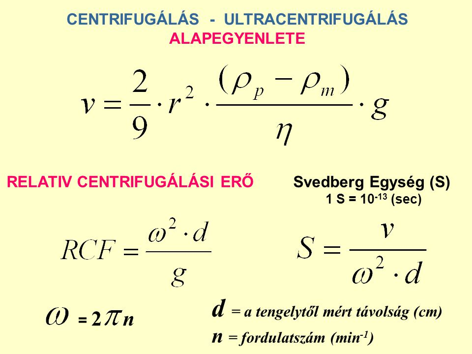 CENTRIFUGÁLÁS - ULTRACENTRIFUGÁLÁS