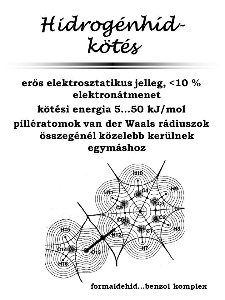 Hidrogénhíd-kötés erős elektrosztatikus jelleg, <10 % elektronátmenet. kötési energia 5…50 kJ/mol.
