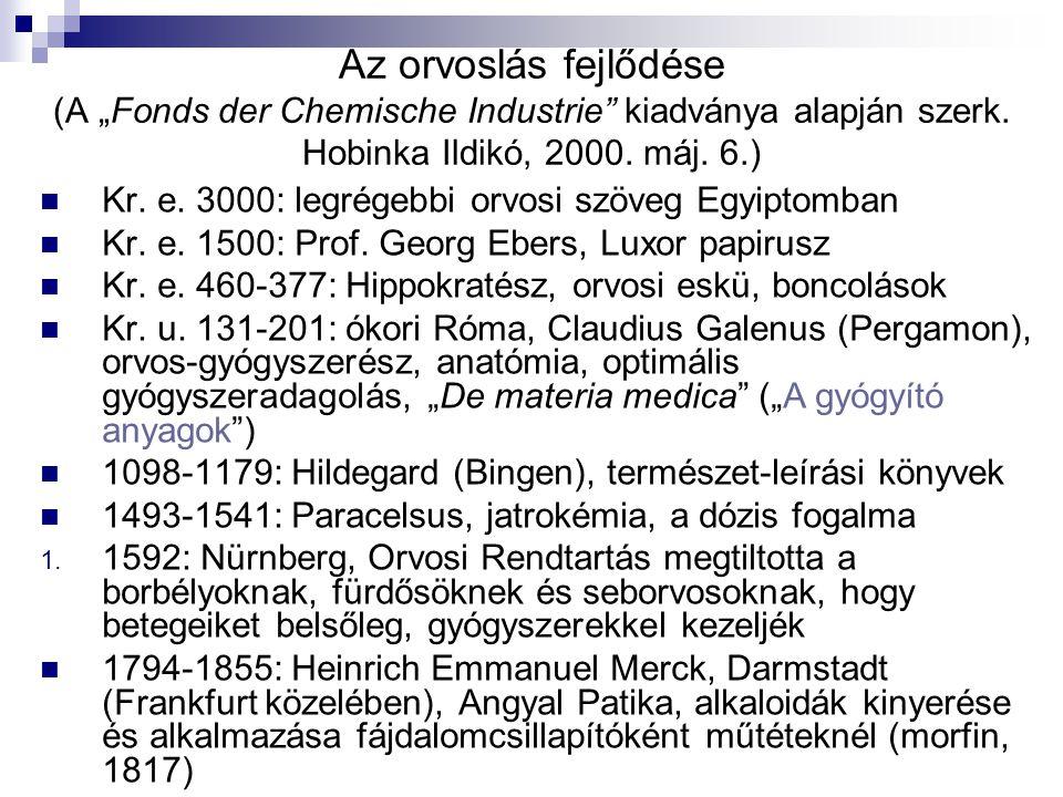 """Az orvoslás fejlődése (A """"Fonds der Chemische Industrie kiadványa alapján szerk. Hobinka Ildikó, 2000. máj. 6.)"""