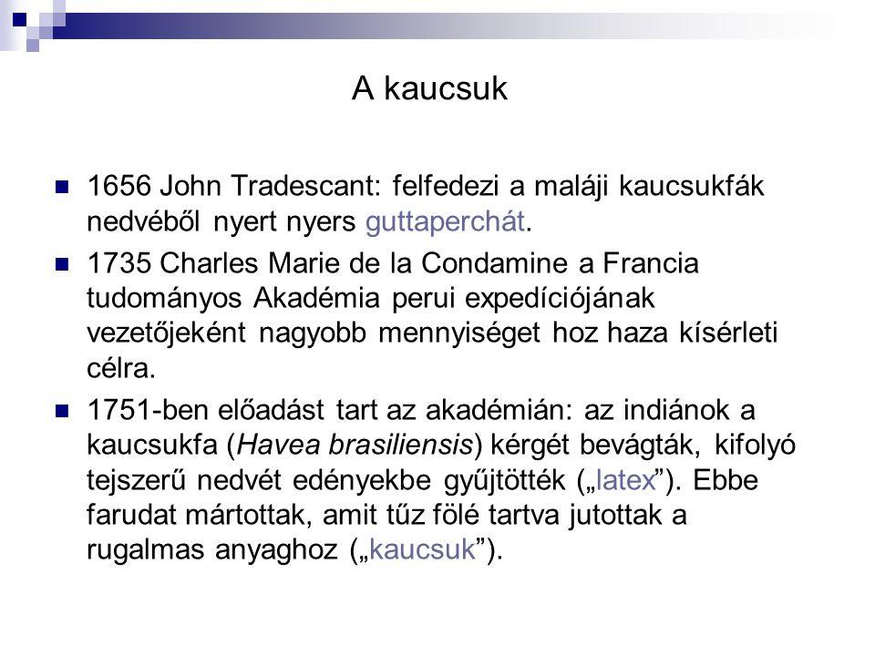 A kaucsuk 1656 John Tradescant: felfedezi a maláji kaucsukfák nedvéből nyert nyers guttaperchát.