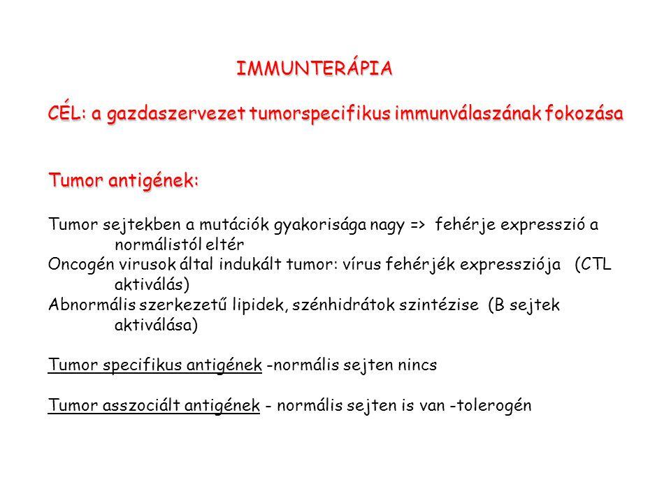 CÉL: a gazdaszervezet tumorspecifikus immunválaszának fokozása