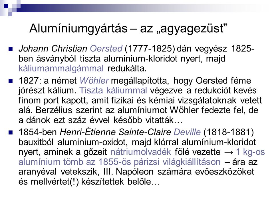 """Alumíniumgyártás – az """"agyagezüst"""